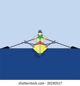 Vector illustration of a man rowing his boat