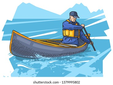 Vector illustration of a man rowing on canoe, kayak. Beautiful canoeing, kayaking poster. Water, sea or river sports