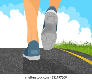 Vector illustration of a man running on the road