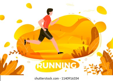 Vector illustration -  man running in park. Forest, trees and hills on background. Banner, site, poster template with place for your text.
