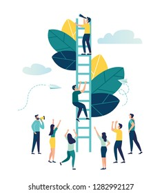 Vector illustration, a man seeks up the stairs, achieving the goal, the path to success is motivation, career advancement