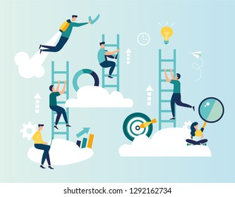 Vector illustration, a man seeks up the stairs, achieving the goal, the path to success is motivation, career advancement, search for ideas - Vector