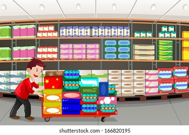 A vector illustration of man shopping in a big box store