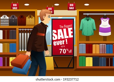 A vector illustration of man shopping at a clothing store inside of a shopping mall