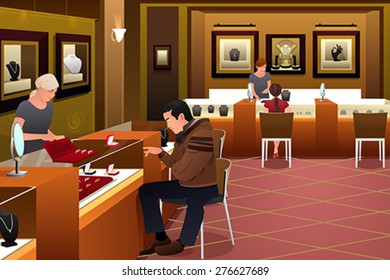A vector illustration of man shopping for a wedding ring in a jewelry store
