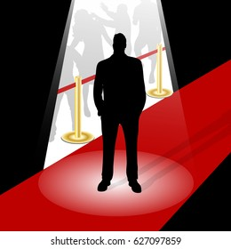 vector illustration man silhouette on a red carpet