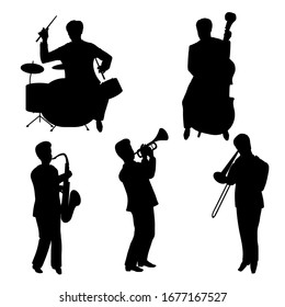 Vector Illustration of man silhouettes playing the trombone, trumpet, drums, saxophone, contrabass. Jazz musicians. Set of characters isolated on white background