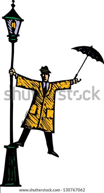 Vector illustration of man singing in the rain
