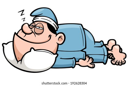 Vector illustration of man sleeping