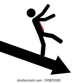 Vector / illustration. Man slip down on arrow.