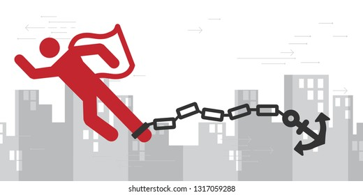 vector illustration of man in super hero posture with anchor and chain and money for paying burdens and hard obligations concept