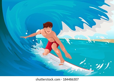 A vector illustration of man surfing on the ocean