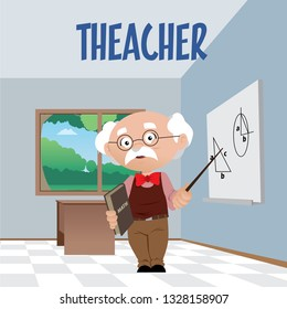 Vector illustration of man teacher