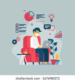 Vector illustration of a man teleworking from his home because of the coronavirus COVID-19