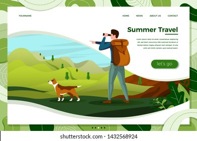 Vector illustration - man travel with dog, looking in binoculars on mountains, trees on background. Banner, site, poster template with place for your text.