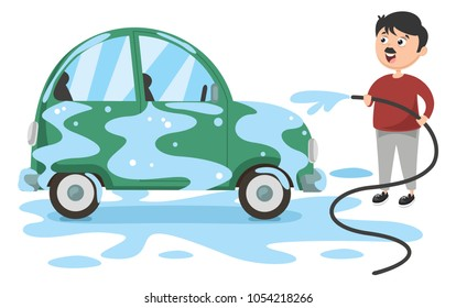 Vector Illustration Of Man Washing Car