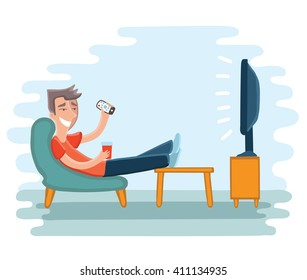 Vector illustration of man watching television on armchair. Tv and sitting in chair, drinking