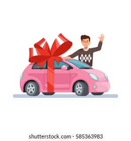 Vector illustration man wave his hand and give pink mini woman car with red bow flat style on blue background. Concept design gift girl automobile.