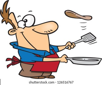 Vector illustration of man wearing apron and flipping pancakes