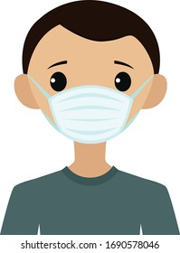 Vector illustration of a man wearing a face mask