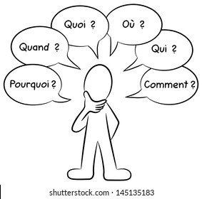 vector illustration of a man who asks questions  french: pourqoi = why, quand = when, quoi = what, o�¹ = were, qui= who, comment = how