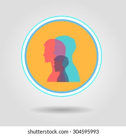 Vector illustration of a man woman and a child. Transparent layers. Silhouette head profile.  Vector 10 eps file for your design. Bright neon colors.