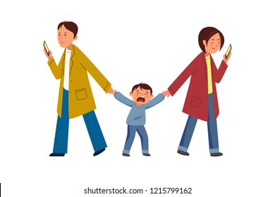 Vector illustration. A man and a woman holding the hands of a child. The child is crying and cranky.