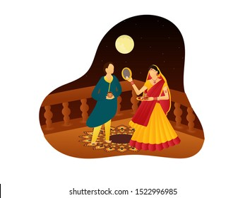 Vector illustration of man and woman,  of looking through sieve during Karwa Chauth celebration in India with  night theme background with full moon_Vector, Illustration.