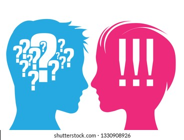 Vector illustration. Man and woman with question mark and exclamation mark. Concept of doubt and certainty