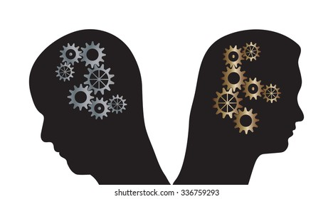 Vector illustration of man and woman silhouettes with cogs in their heads. Partnership problems metaphor.