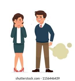 vector illustration man worker fart in front of other worker, shy worker fart in front of a girl