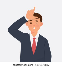 vector illustration man worker give sign looser with his hand in front of his forehead. Looser sign by hand