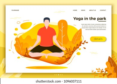 Vector illustration - man in yoga lotus pose. Park, forest, trees and hills on background. Banner, site, poster template with place for your text.