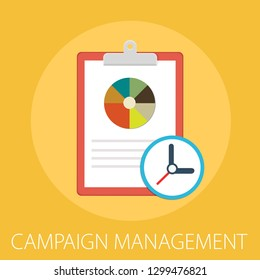 """Vector illustration of management concept with word """"campaign management"""" Advertising concept icon."""