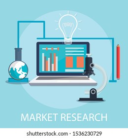 """Vector illustration of management & marketing concept with """"market research"""" research and development icon."""