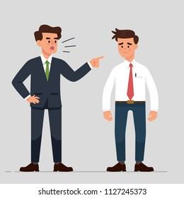 vector illustration a manager or boss angry to their employee, bullying at work, man worker get bully from his office mate