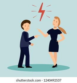 Vector illustration of a manager or boss angry at their employees, intimidation at work, man worker get from his assistant at work