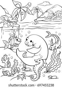 Vector illustration of a manatee and a parrot in the jungle. Page of a children's coloring book. Animals in the jungle and in the water with wild plants.