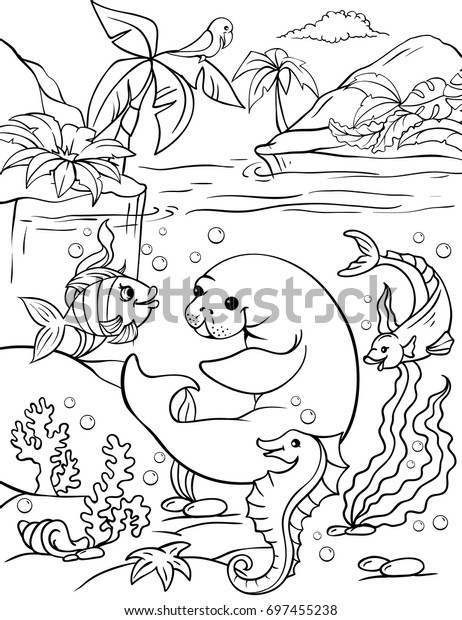 Vector Illustration Manatee Parrot Jungle Page Stock Vector Royalty Free 697455238
