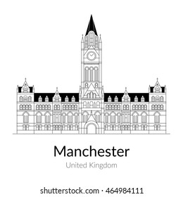 Vector illustration of the Manchester city, United Kingdom, flat one line style. For Design, Website, Branding, Logotype, Map, Guide.