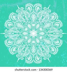 Vector illustration of mandala design in white on aqua green background. Concept image for card, yoga studio, meditation, spirituality,  Indian, Arabic or Thai cuisine restaurants ads, tattoo salon