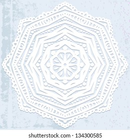 Vector illustration of mandala design in white on grey silver background. Concept image for card, modern yoga studio, meditation, oriental cuisine restaurants ads, spa salon, bridal invitation