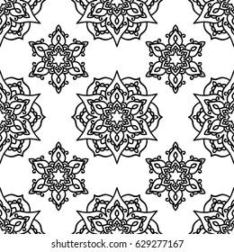 Vector, illustration, mandala, doodle style, seamless pattern, east, star, fabric