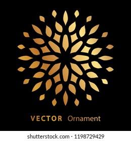 vector illustration mandala. Golden floral pattern. Oriental silhouette ornament.coaster design.