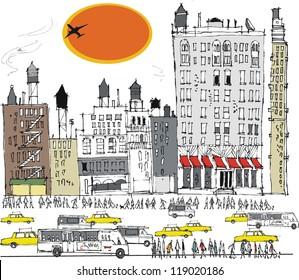Vector illustration of Manhattan buildings, traffic and pedestrians, New York.
