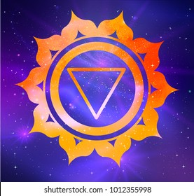 Vector illustration of Manipura chakra on outer space ultraviolet background.