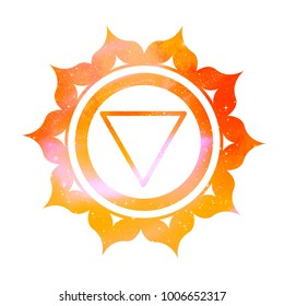 Vector illustration of Manipura chakra with outer space and nebula inside.