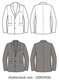 Vector illustration of man's business coat. Front and back views