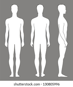 Vector illustration of man's figure. Silhouettes. Front, back, side views