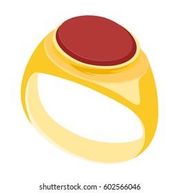 Vector illustration mans golden vintage, heraldic signet ring.
